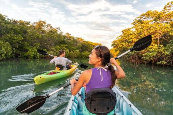 A couple enjoying their kayaking near Myrtle Beach