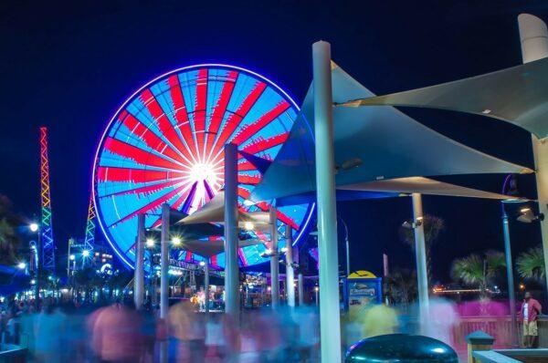 a ferris wheel at night